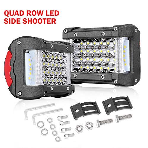 Tractor Quad (Side Shooter LED Pods, Wayup 2Pcs 204W 4 Inch Quad Row LED Work Light Bar OSRAM Spot Flood Combo Driving Light Off Road Cubes Light Waterproof Fog Lamps for Trucks Jeep Boat ATV UTV Car Tractor)