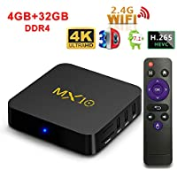AKImart MX10 Set-top TV Box, Rockchip RK3328 4GB + 32GB Quad Core Android 7.1 WiFi Support 3D 4K Streaming Media Player