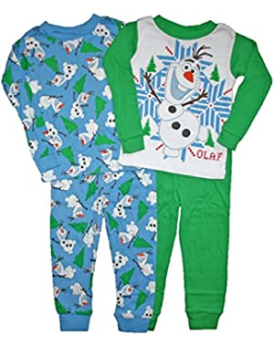 Disney Frozen Little Boys Olaf 4 Pc Cotton Pajama Set (4T)