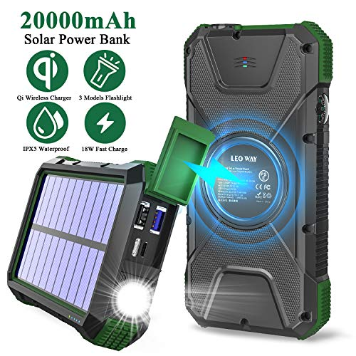 Solar Charger Power Bank 20000mAh, 18W QC3.0 and PD Fast Charging Portable Outdoor Wireless Charger 10W/7.5W/5W with 4 Outputs & Dual Inputs, External Battery IPX5 Waterproof with Flashlight Compass