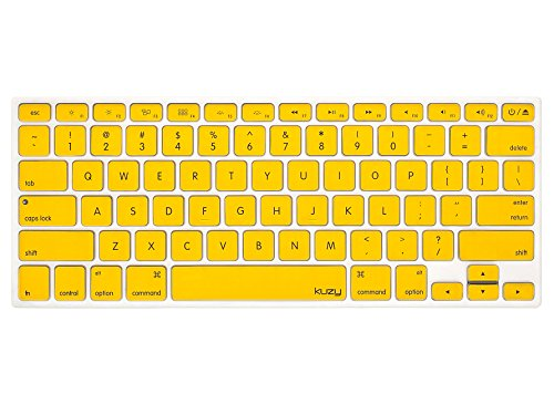 Kuzy - YELLOW Keyboard Cover Silicone Skin for MacBook Pro 13 15 17 (with or w/out Retina Display) iMac and MacBook Air 13 - Yellow