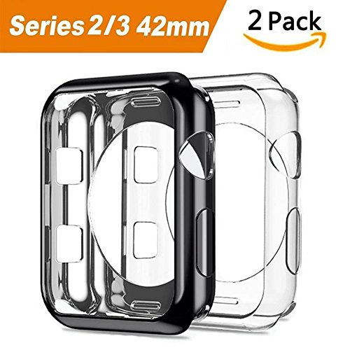 Apple Watch 3 Case, 2 Pack ARKFU iWatch 42mm Rugged Protective Slim Shock Resistant Soft TPU Case Bumper Cover Apple Watch 42mm Screen Protector Series 3 Series 2 (Black and Clear) by ARKFU