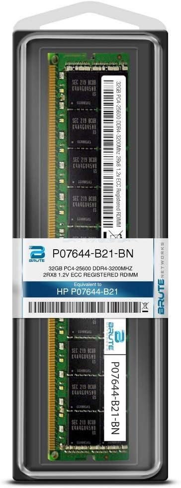 Brute Networks P07644-B21-BN Equivalent to OEM PN # P07644-B21 32GB PC4-25600 DDR4-3200Mhz 2Rx8 1.2v ECC Registered RDIMM