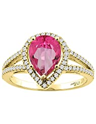 14K Gold Natural Pink Topaz Ring Pear Shape 9x7 mm Diamond Accents, sizes 5 - 10