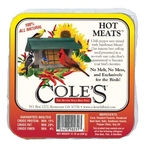 - Coles HMSU 12 oz Hot Meats Chili Pepper Wild Bird Suet Cakes - Quantity 14