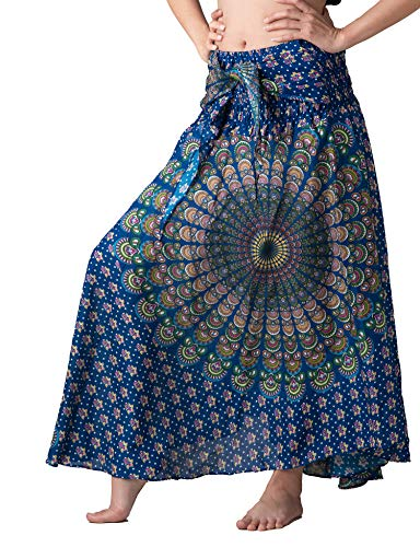 Bangkokpants Women's Long Hippie Bohemian Skirt Gypsy Dress Boho Clothes Flowers One Size Fits Asymmetric Hem Design (Blue Shinepeacock, One Size) -
