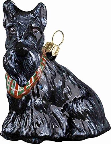 Scottish Terrier with Tartan Bandana Dog Polish Glass Christmas Ornament (Scottie Christmas Ornament)