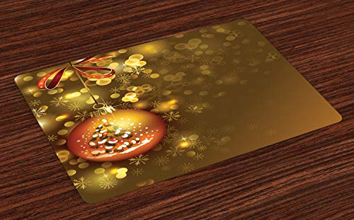 - Ambesonne Christmas Place Mats Set of 4, Xmas Ball with Baubles Vivid Wish Gleams Holiday Concept Artwork Print, Washable Fabric Placemats for Dining Table, Standard Size, Dark Yellow