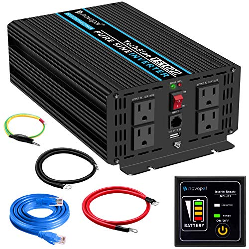 Pure Sine Wave Power Inverter 1000 Watt 12V DC to 110V/120V AC Converter 4 AC Outlets Car Inverter with One USB Port 5 Meter Remote Control and Two Cooling Fans Peak Power 2000 Watt novopal