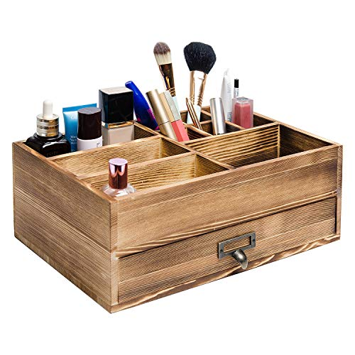 Liry Products Rustic Wooden Organizer Cosmetic Storage Cabinet Makeup Display Box Office Supplies Desktop Vanity Drawers…