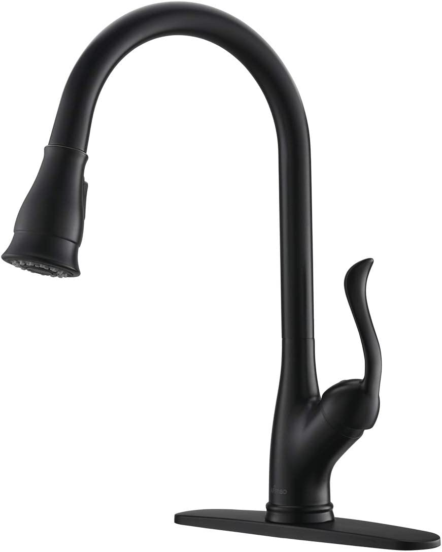 APPASO Pull Down Kitchen Faucet with Sprayer Matte Black - High Arc Modern Single Handle Put Out Kitchen Sink Faucets with Deck Plate, 157MB