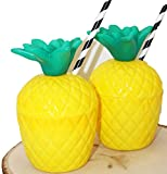 BOSHENG Tropical Tiki Pineapple Drink Cups with Straws - 6 Pieces