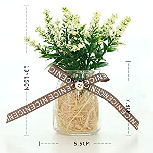 LLQUS Artificial Flowers Lavender Flower Pot Ornaments Home Decoration Crafts Furnishings (A) 98