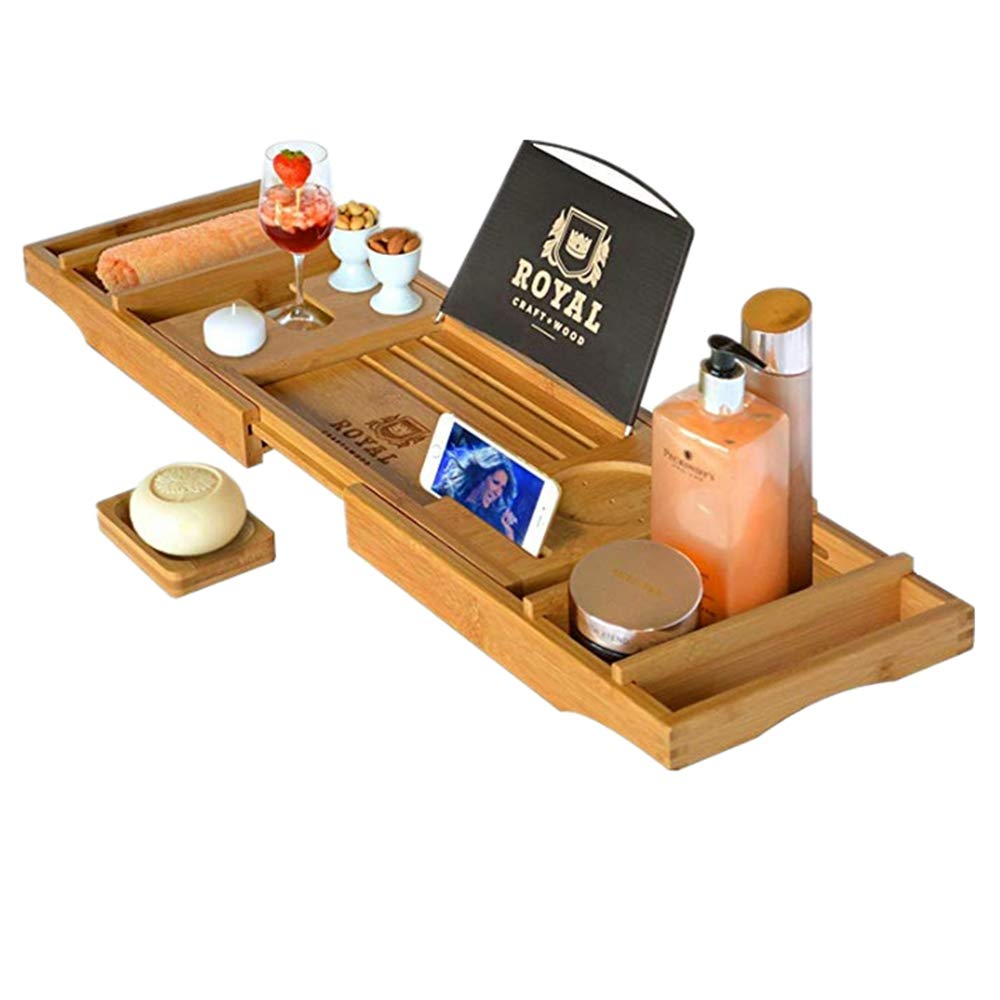 ANGELA Expandable Bamboo Bathtub Caddy, Perfect Wooden Serving Tray and Organizer, Bath Artifact, for Bathtubs Less Than 115cm Wide, for Home Bathroom