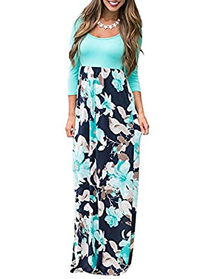 DUNEA Women's Maxi Dress Floral Printed Autumn 3/4 Sleeve Casual Tunic Long Maxi Dress