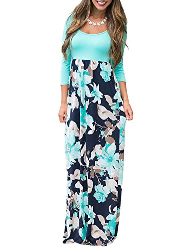 Printed Belted Empire Waist Dress - Demetory Women`s Autumn 3/4 Sleeve Empire Waist Floral Flowy Tunic Tank Top Long Maxi Dress Sky Blue Medium