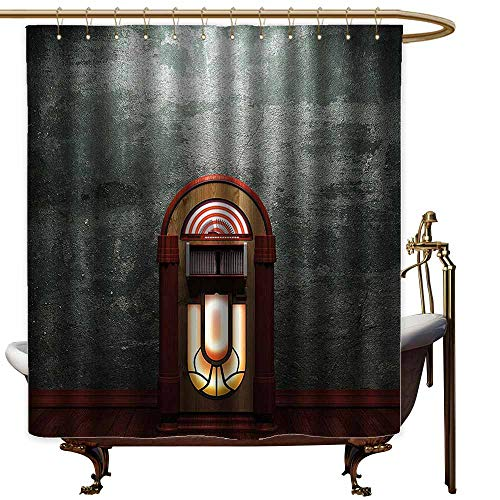 StarsART Shower Curtains Zen Jukebox,Scary Movie Theme Old Abandoned Home with Antique Old Music Box Image,Petrol Green and Brown,W60 x L72,Shower Curtain for clawfoot tub