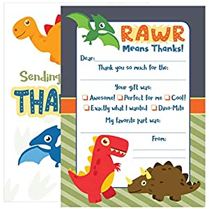 25 Kids Dinosaur Thank You Cards – These Cute Fill...