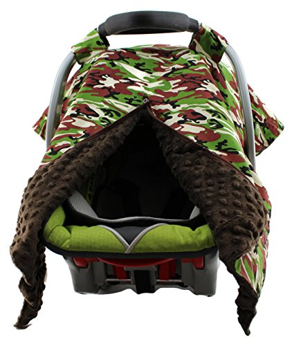 Dear Baby Gear Carseat Canopy, Camouflage, Brown Minky