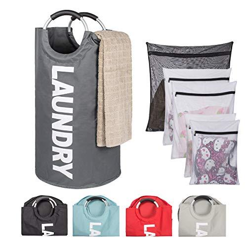 Basket Baby Comfort (TOMHOM Large Laundry Basket Collapsible Fabric Laundry Hamper Foldable Clothes Bag Folding Washing Bin Laundry Set 5 Colors Available (Dark Grey+Washing Bags))