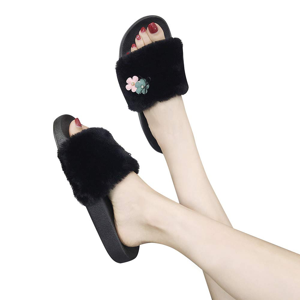 Slippers For Women, Clearance Sale !! Farjing Slip On Sliders Fluffy Faux Fur Flat Slippers Flip Flop Sandals(US:6.5,Black1)