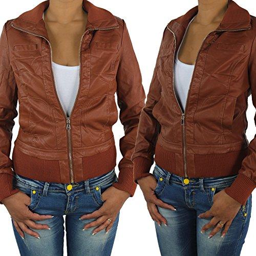 809all Chaqueta de piel sintética para mujer, biker marrón oscuro