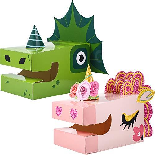 2 Set Valentine#039s Day Mailbox Kit for Valentine#039s Day Cards Set Unicorn and Dinosaur for Valentine Greeting Cards Classroom Exchange Valentine Art Craft Set for Children Classroom Gift Valentine Part