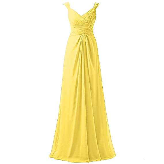 HONGFUYU Womens Elegant Chiffon Evening Dresses Bridesmaid Dress Long Formal Prom Gown Yellow UK12