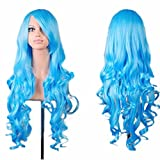 Vanvler Wig, Women Long Curly Hair Lady Party Anime Full Wig Cosplay (Light Blue)