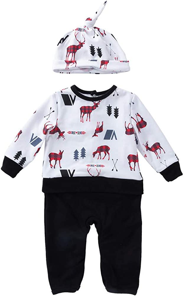 kaiCran Bbay Christmas Romper,Cute Deer Print Cotton Bodysuit and Hat for Newborn Baby Boys Girls