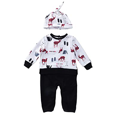572b8dcb5 Baby Boys Cake Smash Outfit First Birthday Shorts Bloomers  Adjustable/Newborn Baby Boys Girls Christmas Deer Print Romper Jumpsuit  Outfits Set: ...