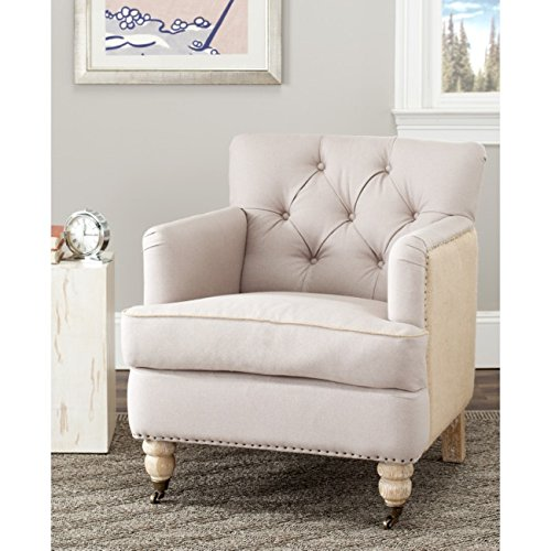Safavieh Hudson Collection Mario Two-Toned Linen and Jute Club (Hudson Chair Living Room Chair)