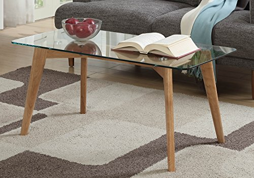Glass Natural Wood Table - Convenience Concepts Clearview Coffee Table, Natural Glass