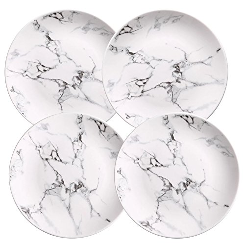 Coffeezone Marble Design Porcelain Dinner Accent Plates Set of 4 (8 inches)