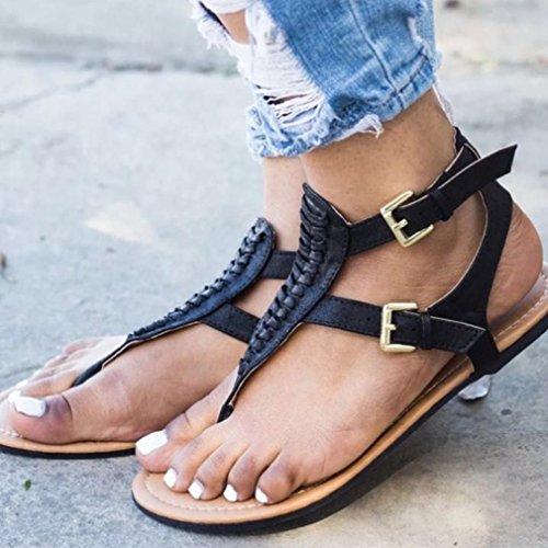Toe Clip Negro Negro Sandalias Tejido Beige Zapatos Zapatos Playa Sandalias Planos Sandalias Verano Mujer Confort de Abierta Punta wxqCZYXqT