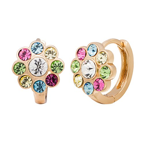 18k Gold Multi Color Gemstone - Romantic Time Multi-Color Gemstone Studded Disco Ball Exotic Floral Style 18k Rose Gold Plated Hoop Earrings