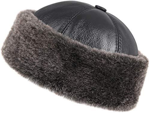 Zavelio Men's Shearling Sheepskin Winter Beanie Hat XX-Large Black