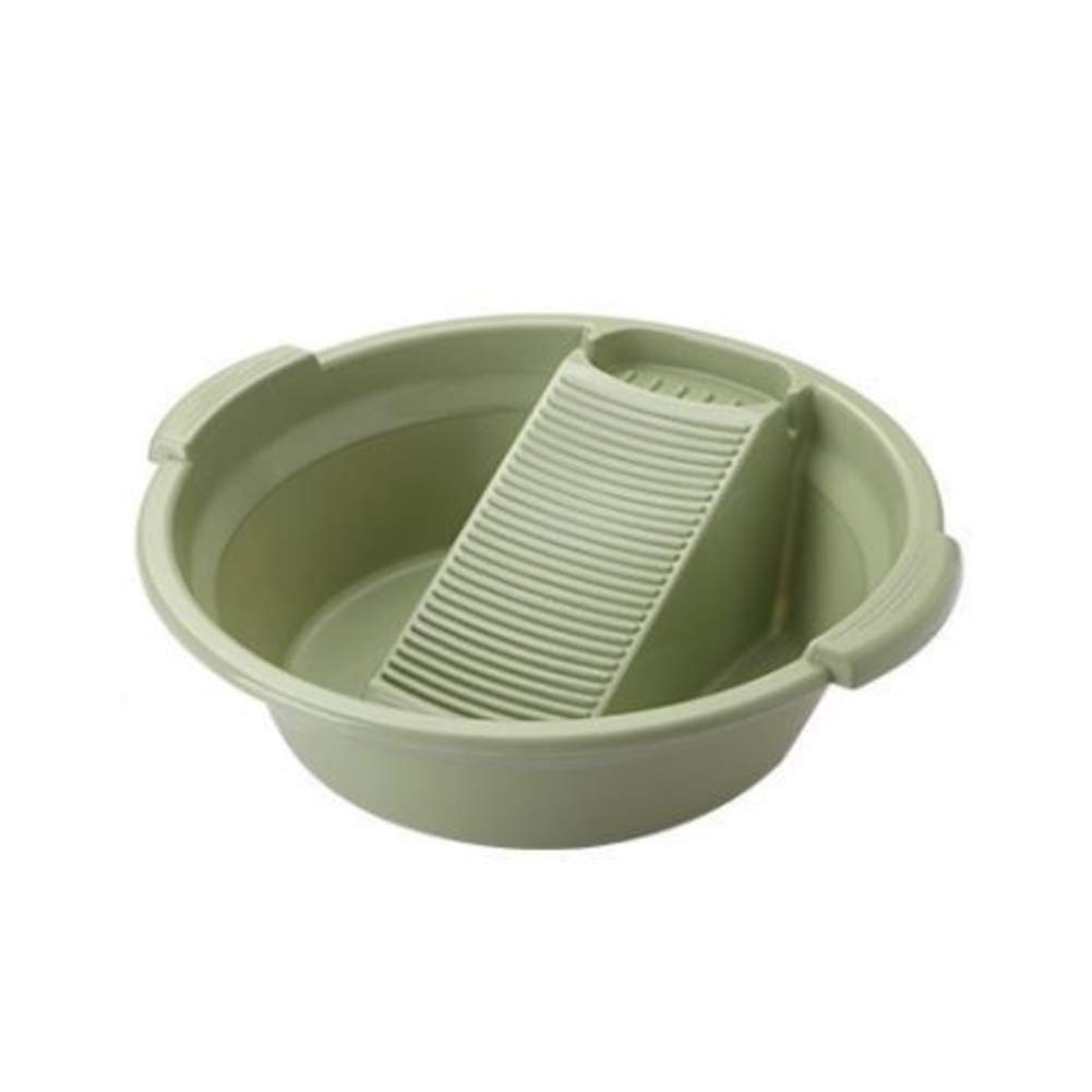 HEMFV Washboard Plastic Washing Board Laundry Wash Basin with Washboard Round Anti-Skid Household Laundry Tub (Color : Green) by HEMFV