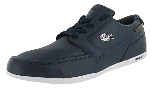 0b8c66815bdd12 ... Lacoste Mens Shoes Dreyfus Eo Dark Blue Brown Leather 7-24SPM12122L8