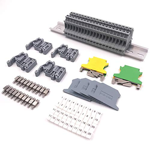 Erayco DIN Rail Terminal Blocks Kit, 20Pcs UK-2.5N 12 AWG Terminal Blocks, 2Pcs Ground Blocks, 2Pcs Fixed Bridge Jumpers, 4Pcs End Brackets, 4Pcs End Covers, 4Pcs Marker Strip, 1Pcs 8