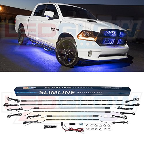 LEDGlow 6pc Blue Truck Slimline LED Underbody Underglow Accent Neon Lighting Kit - Solid Color Illumination - Water Resistant, Low Profile Tubes - Included Power Switch Turns Lights On & ()