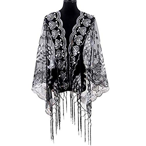 s 1920s Scarf Mesh Sequin Wedding Cape Evening Shawl Wrap With Peacock Print ()