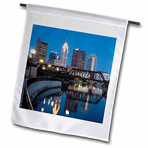 Flag Columbus Ohio - 3dRose fl_93388_1 USA Ohio Columbus City Skyline and The Scioto River US36 TWE0007 E O Reed Garden Flag, 12 by 18-Inch