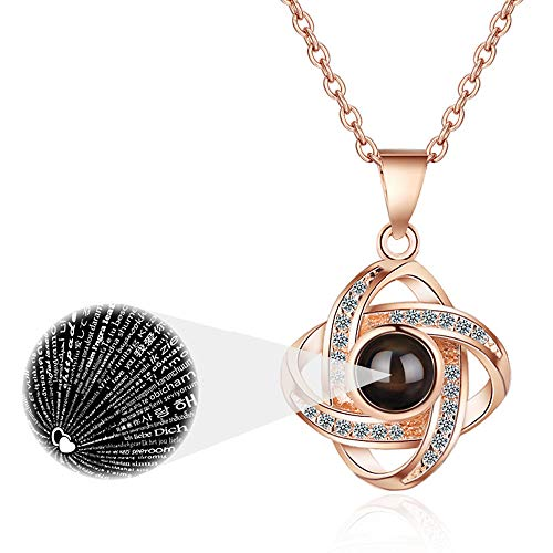 I Love You Necklace 100 Languages (Rose Gold)