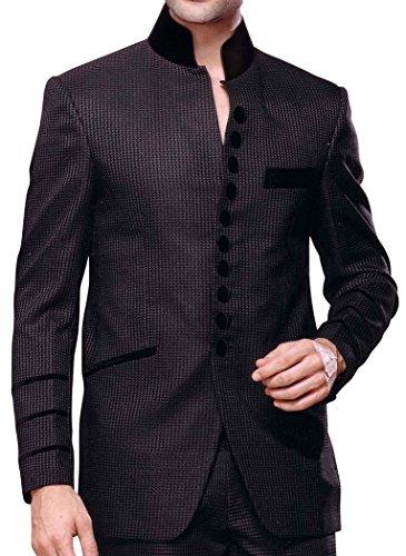 INMONARCH Mens Purple Grey 2 Pc Nehru Collar Front Open Suit purple-gray NS119L52 from INMONARCH