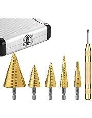 Foret étagé, Tacklife PDH06A Perceuse à percussion HSS 5 pièces avec boîtier en aluminium professionnel, tige hexagonale, avec tampon de centrage automatique, 47 tailles: 5-35 mm / 5-22 mm / 3-19 mm / 3-13 mm / Perçage précis dans l'acier, le métal, le PVC et le bois