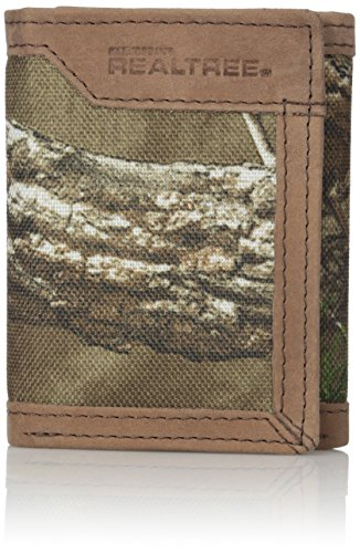 RealTree Men's Leather Canvas Trifold Wallet, Camo, One Size