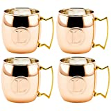 Old Dutch International Solid Moscow Mule Mug, 16-Ounce, Monogrammed L, Copper, Set of 4