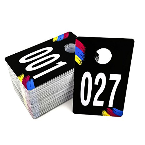 Live Sale Plastic Number Tags, Coat Room Checks, Reusable Coatroom Hanger Claim Tickets, Coat Hanger Cards for Clothes, 100 Consecutive Numbers, (001-100)