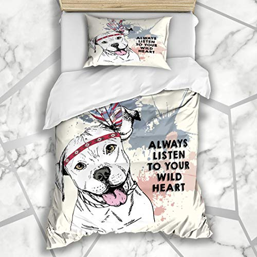 Ahawoso Duvet Cover Sets Twin 68X86 Nature Abstract Close Pitbull Dog Wearing Puppy Always American Aztec Boho Heart Microfiber Bedding with 1 Pillow Shams ()